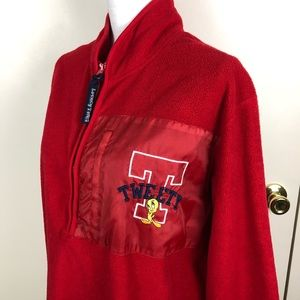 LOONEY TUNES TWEETY BIRD JACKET RED 1/2 ZIP SZ XL
